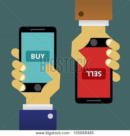 Buying and selling online transaction with smartphone vector illustration poster