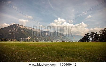 Lakefront park in Annecy, Haute - Savoie, France