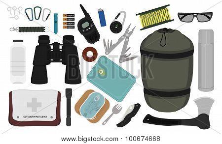 Camping Equipment Set. Color