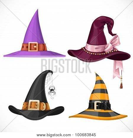 Witch Hats With Straps And Buckles Set Isolated On White Backgro