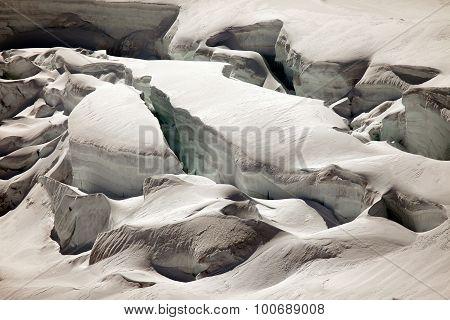 Snow and deep glacier crevasses on Jungfraujoch Switzerland