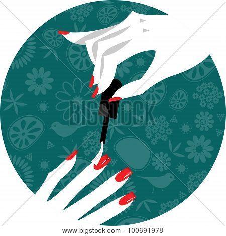 Woman Applying Nail Polish On Fingers. Manicure.