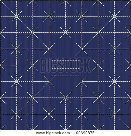 Monochrome sashiko motif with copy space for text.