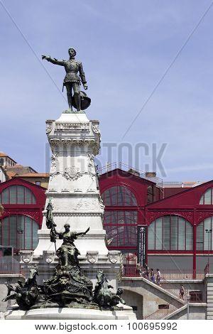 Porto, Portugal - July 04, 2015: Ferreira Borges Market Exterior Statue Detail