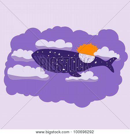 Night whale flies through the sky