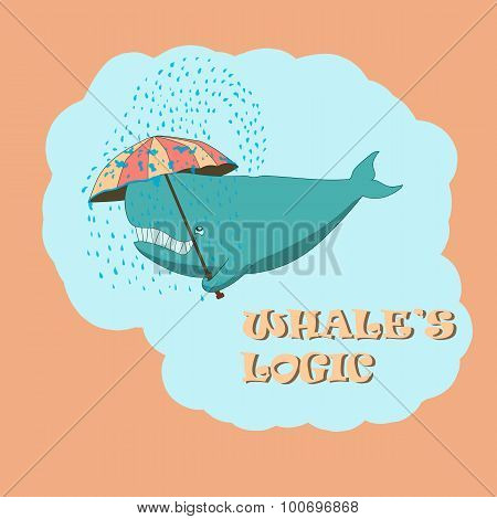 whale with an umbrella
