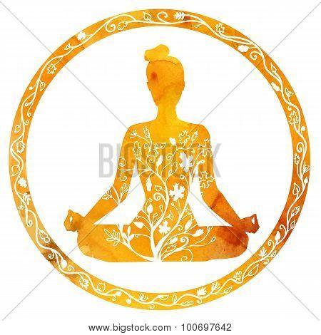 Female Silhouette In Yoga Lotus Pose.