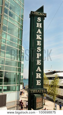 CHICAGO, ILLINOIS - AUGUST 22, 2015: Shakespeare Theater sign. The popular theater is located on Navy Pier on the shore of Lake Michigan.