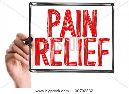 Hand with marker writing the word Pain Relief