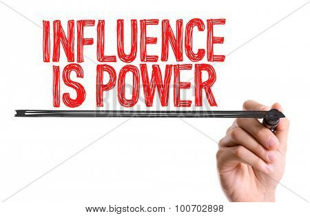 Hand with marker writing the word Influence is Power poster