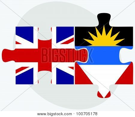 United Kingdom and Antigua and Barbuda Flags in puzzle isolated on white background. poster