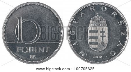 Hungarian Forint ten coin closeup isolated on white background poster