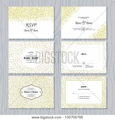 Save the Date Cards Set with Gold Confetti Borders