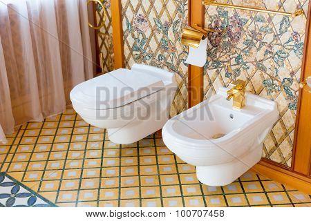 Novi Petrivtsi, Ukraine - May 27, 2015 Mezhigirya residence of ex-president of Ukraine Yanukovich. Close up of luxurious toilet