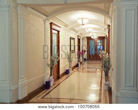 Novi Petrivtsi, Ukraine - May 27, 2015 Mezhigirya residence of ex-president of Ukraine Yanukovich. Close-up of luxurious modern hall
