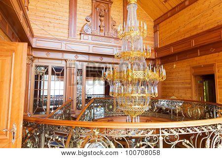 Novi Petrivtsi, Ukraine - May 27, 2015 Mezhigirya residence of ex-president of Ukraine Yanukovich. Interior of the main house with big chandelier