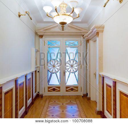 Novi Petrivtsi, Ukraine - May 27, 2015 Mezhigirya residence of ex-president of Ukraine Yanukovich. Long luxurious vintage corridor