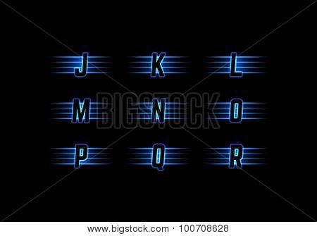 Part of Blue Neon Light Alphabet
