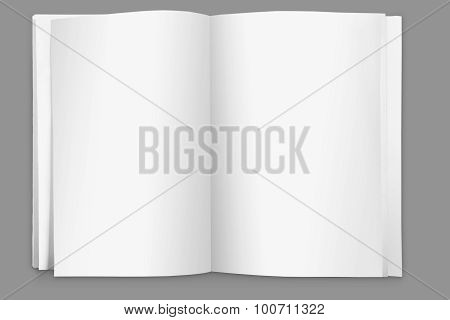 Blank Page Open Book On White Background