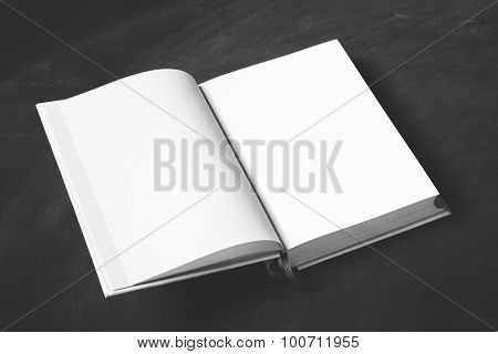 Open Thick Book With Blank Page