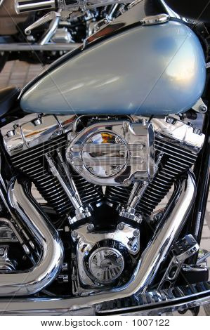 Beautiful Chrome Engine Of Custom Chopper Motorbike