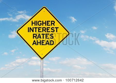 Higher Interest Rates Roadsign