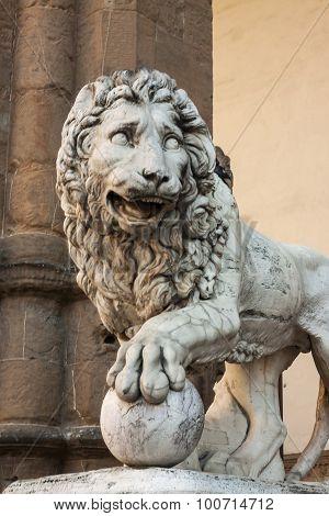 Statue of a lion at the Loggia dei Lanzi in Piazza della Signoria - Florence