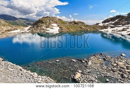 Monticello Lake In Presena Mount, Italy