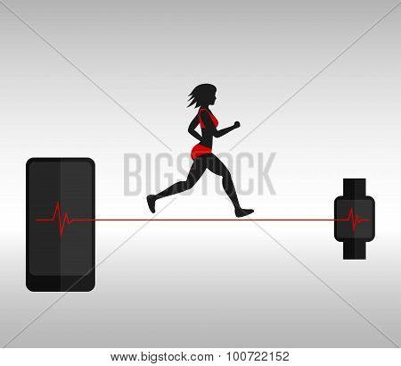 Running woman and smartphone with smartwatch