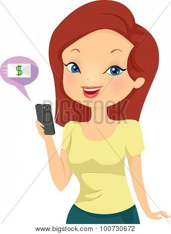 Illustration of a Girl Using Her Mobile Phone to Make Online Transactions