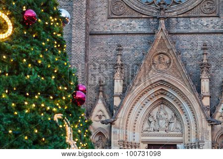 Christmas tree before the Basilica  at christmastime