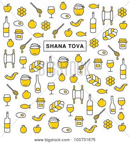 SHANA TOVA. Collection of icons and symbols for Rosh Hashanah, Jewish New Year. Vector greeting card.  Elements  pattern.