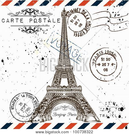 bonjour Paris. Imitation Of Vintage Post Card With Eiffel Tower And Post Stamps Paris, Voyage Tra