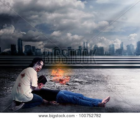 Creepy male zombie kill man with destroyed city background poster