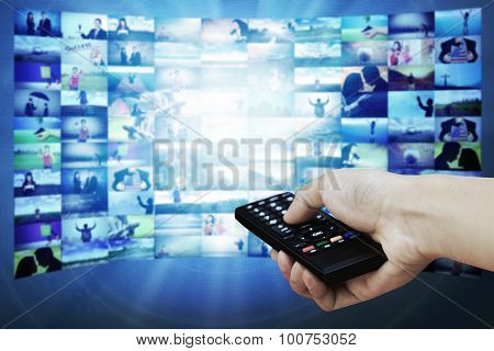 Big Lcd Panel With Television Stream Images