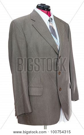 Green Woolen Jacket With Shirt And Tie Isolated