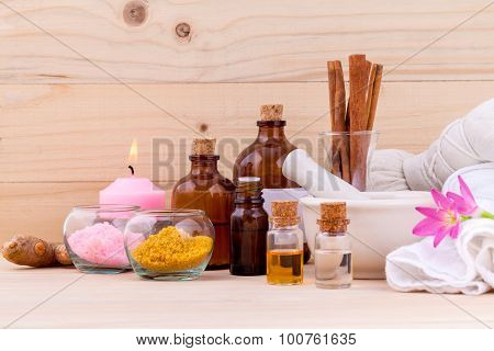 Natural Spa Ingredients Aromatherapy And Natural Spa Theme  On Wooden Background.