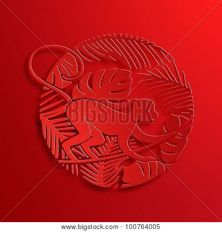 Vector Traditional Chinese Monkey Paper Cutting