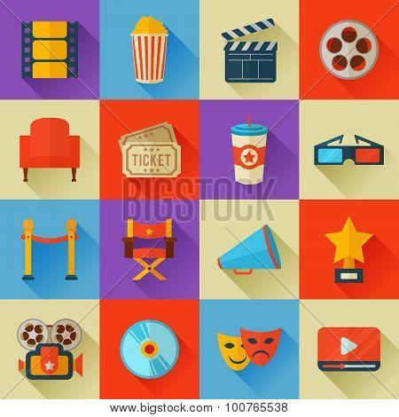 Set Of Flat Style Cinema Icons