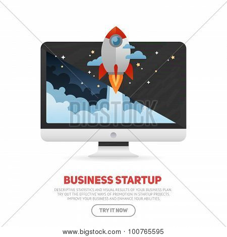 Business Start Up Concept Template With Realistic Monoblock Pc