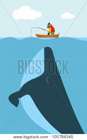 Vector Illustration Of Fisherman And Huge Whale. Creative Poster Concept.