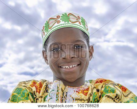 Afro boy smiling, ten years old