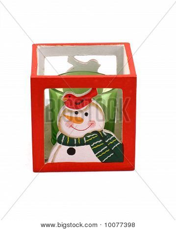 Red candlestick with the snowman and green candle poster