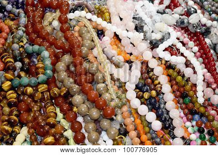 Bead bracelet and necklace beads abstract background