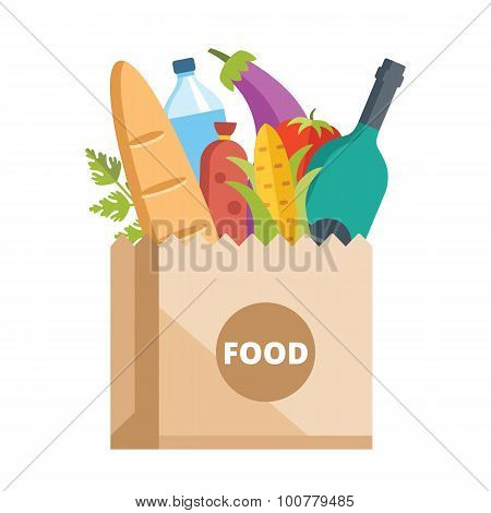 Paper bag full of food. Grocery delivery concept. Modern flat design concepts for web banners, web sites, printed materials, infographics. Colorful vector illustration poster