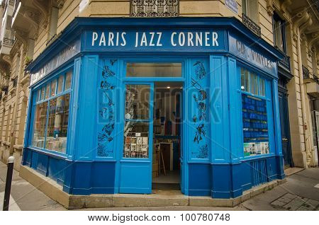 Paris Jazz Corner in the Latin Quarter of the city