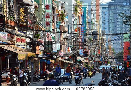 The Streets Of Saigon (ho Chi Min City) Full Of Wires.