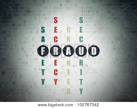 Security concept: Painted black word Fraud in solving Crossword Puzzle on Digital Paper background poster