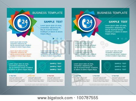 Support And Service - Around The Clock Or 24 Hours On Abstract Vector Modern Flyer.