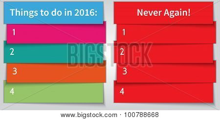 Vector New Year Resolution multi color double List template for 2016 poster